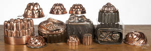Twelve copper and tin food molds