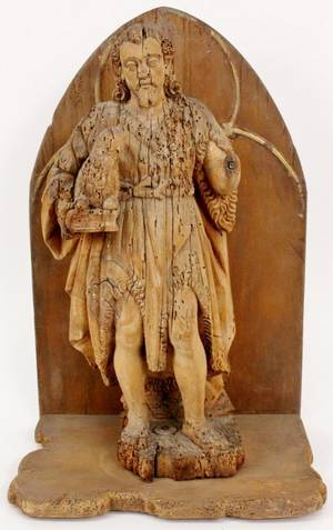 Carved Wood Figure of John the Baptist