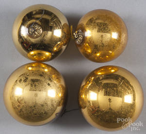 Four yellow kugel ornaments