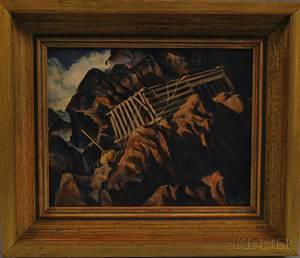 Elmo Alfred Brule Jr American 19172001 Rocky Coastal Landscape with Lobster Trap