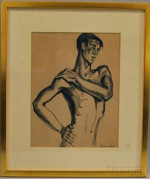 Irene Weir American 18581944 Sketch of a Halflength Male Nude