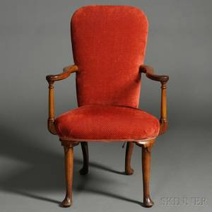 Queen Annestyle Upholstered Walnut Armchair