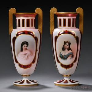 Pair of Bohemian Overlay Glass Portrait Urns