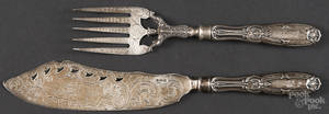 Silver fish slice and fork