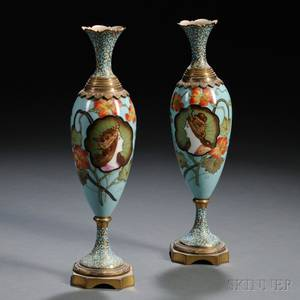 Pair of French Porcelain and Champleve Vases