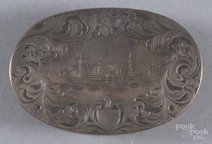 Engraved silver snuff box