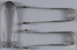 Three Philadelphia silver sugar tongs
