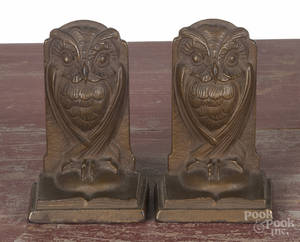 Pair of arts and crafts bronze owl bookends
