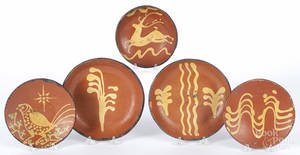 Five contemporary Greg Shooner redware plates