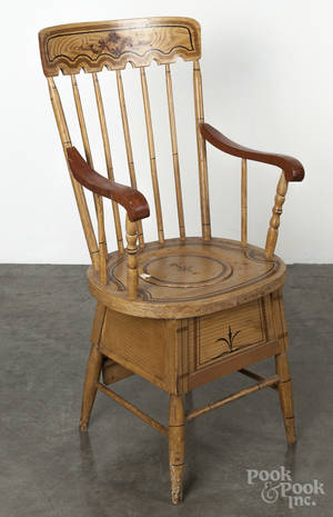 New England painted pine and maple necessary chair