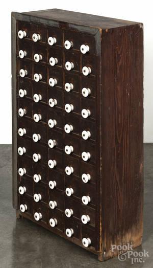 Primitive pine apothecary cabinet