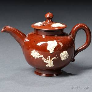 Staffordshire Glazed Redware Miniature Teapot and Cover