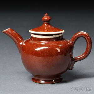 Staffordshire Redware Miniature Teapot and Cover