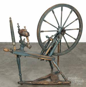 Painted pine spinning wheel