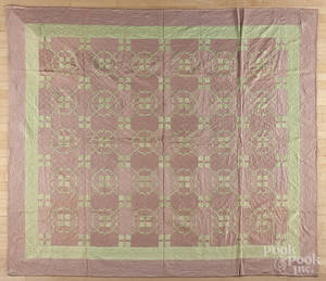 Pair of Victorian silk patchwork quilts