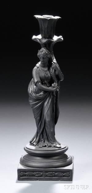 Wedgwood Black Basalt Figural Candlestick