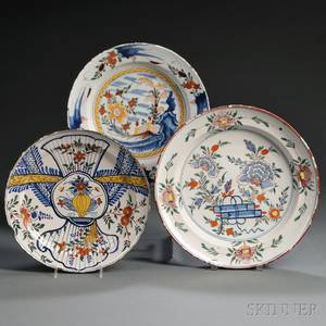 Three Dutch Delft Polychrome Decorated Chargers
