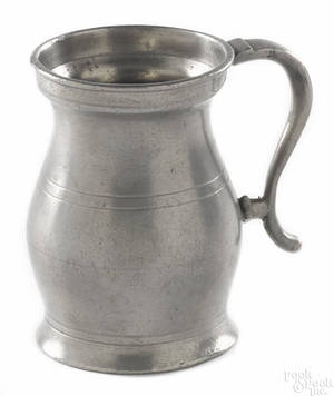 Small New England pewter measure dated