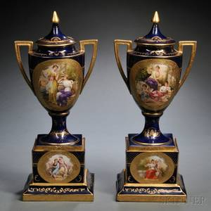 Pair of Vienna Porcelain Urns and Covers