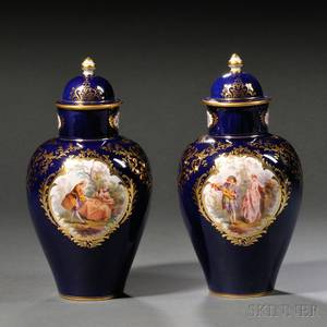 Pair of Meissen Porcelain Cobalt Blue Ground Vases and Covers