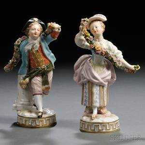 Pair of Meissen Porcelain Figures with Garlands