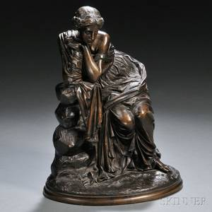 E de Labroue French Mid to Late 19th Century Bronze Model of a Classical Woman