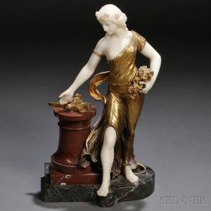 After Henri Fugere French 18721944 Bronze and Marble Figure of a Woman with Flowers