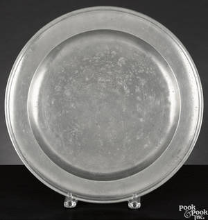New York pewter charger ca 1785