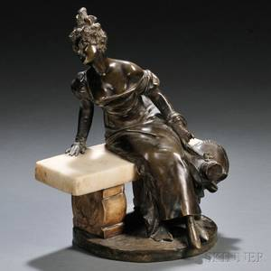 After Georges van der Straeten Belgian 18561941 Figure of a Fashionable Lady on a Bench