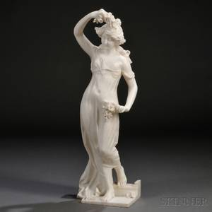 Continental School Late 19thEarly 20th Century Alabaster Figure of a Maiden with Flowers