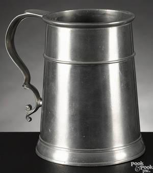 Rare Boston Massachusetts pewter mug ca 1760