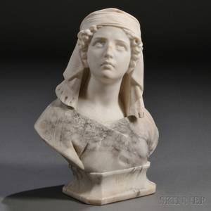 Continental School Late 19thEarly 20th Century Alabaster Bust of Ruth