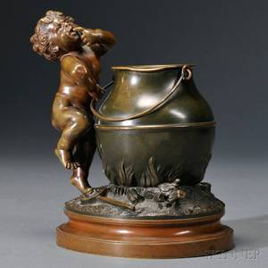 After Auguste Moreau French 18341917 Bronze Figure of Enfant Gourmand
