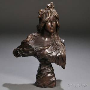In the Manner of Emmanuel Villanis French 18581914 Art Nouveaustyle Bronze Bust 20th century