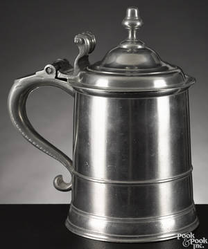 Boston Massachusetts pewter tankard ca 1750