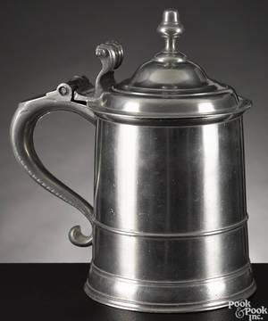 Boston Massachusetts pewter tankard ca 1750