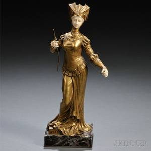 Xavier Raphanel French fl Early 20th Century Bronze and Ivory Figure of a Medieval Spinner