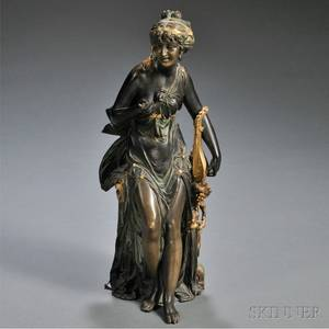 Continental School Late 19thEarly 20th Century Bronze Figure of a Woman with a Lute
