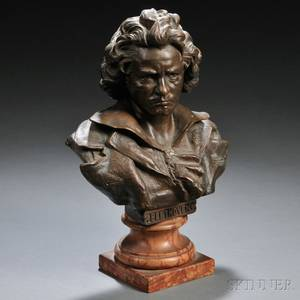 Continental School 20th Century Bronze Bust of Beethoven