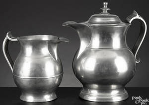 Dorchester Massachusetts pewter water pitcher ca 1840