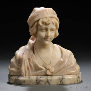 Continental School Late 19thEarly 20th Century Alabaster Bust of a Gypsy