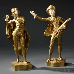 After Auguste Moreau French Late 19th Century Pair of Giltbronze and Ivory Musicians