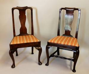 Two 19th C English Walnut Side Chairs