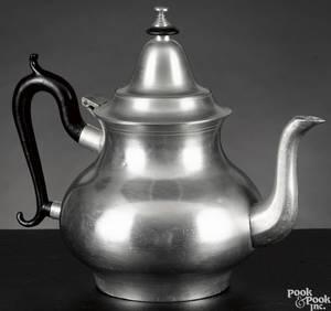 Dorchester Massachusetts pewter pearshaped teapot ca 1840