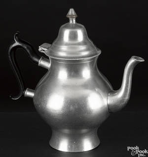 Hartford Connecticut pewter teapot ca 1830