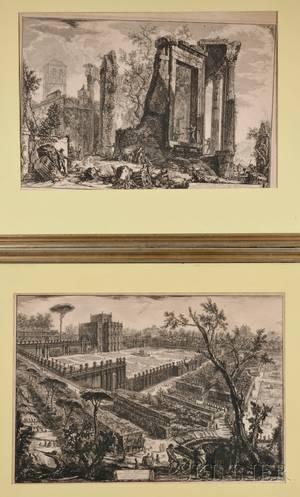 Giovanni Battista Piranesi Italian 17201778 Four Engravings Veduta della Piazza di Monte Cavallo Veduta degli avanzi superiori d