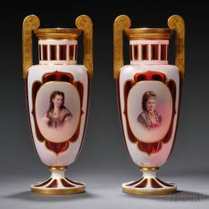 Pair of Bohemian Overlay Glass Portrait Vases