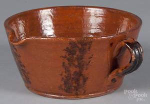 Pennsylvania redware spouted bowl