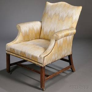 George III Mahogany and Upholstered Library Chair