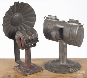 Two tin fluid lamps